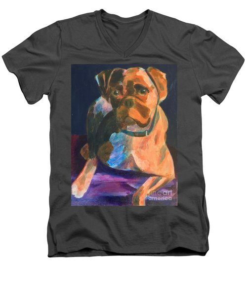 Men's V-Neck T-Shirt featuring the painting Boxer by Donald J Ryker III