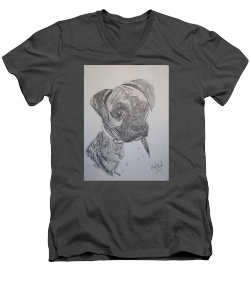 Men's V-Neck T-Shirt featuring the drawing Boxer by Marilyn Zalatan