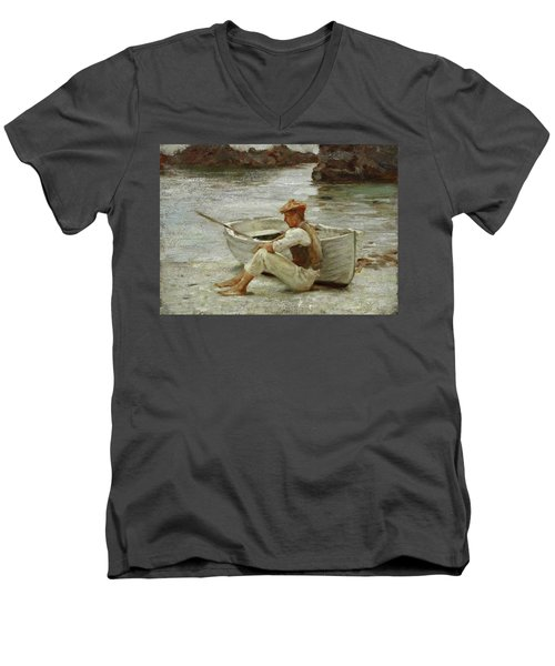 Men's V-Neck T-Shirt featuring the painting Boy And Boat  by Henry Scott Tuke