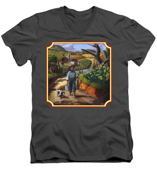 Boy And Dog Country Farm Life Landscape - Square Format Men's V-Neck T-Shirt by Walt Curlee