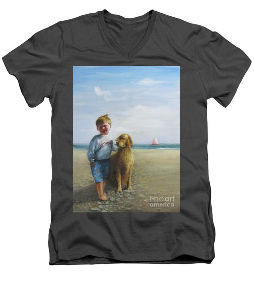 Boy And His Dog At The Beach Men's V-Neck T-Shirt by Oz Freedgood