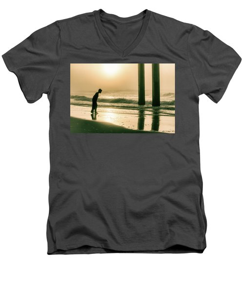 Men's V-Neck T-Shirt featuring the photograph Boy At Sunrise In Alabama  by John McGraw
