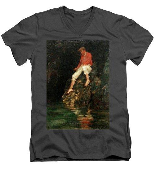 Men's V-Neck T-Shirt featuring the painting Boy Fishing On Rocks  by Henry Scott Tuke
