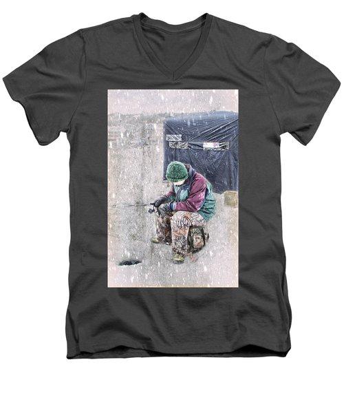Boy Ice Fishing  Men's V-Neck T-Shirt