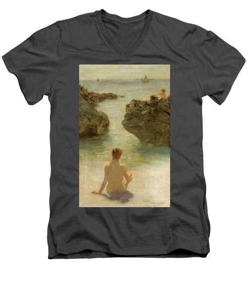 Men's V-Neck T-Shirt featuring the painting Boy On A Beach, 1901 by Henry Scott Tuke