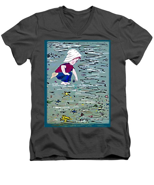 Men's V-Neck T-Shirt featuring the painting Boy On Beach by Desline Vitto