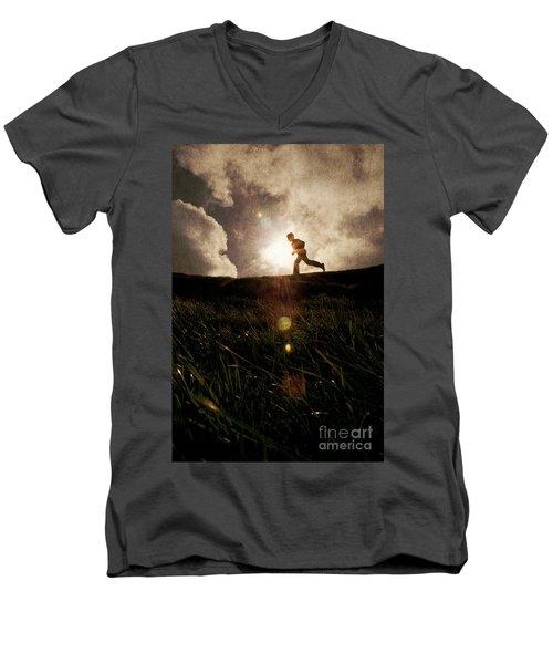 Boy Running Men's V-Neck T-Shirt