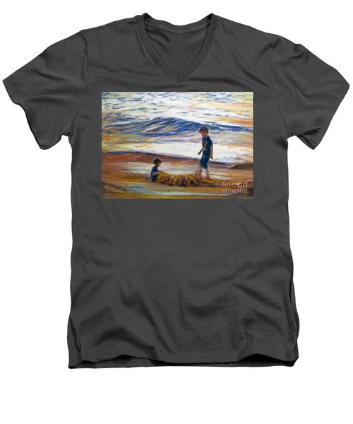Men's V-Neck T-Shirt featuring the painting Boys Playing At The Beach by Ryn Shell