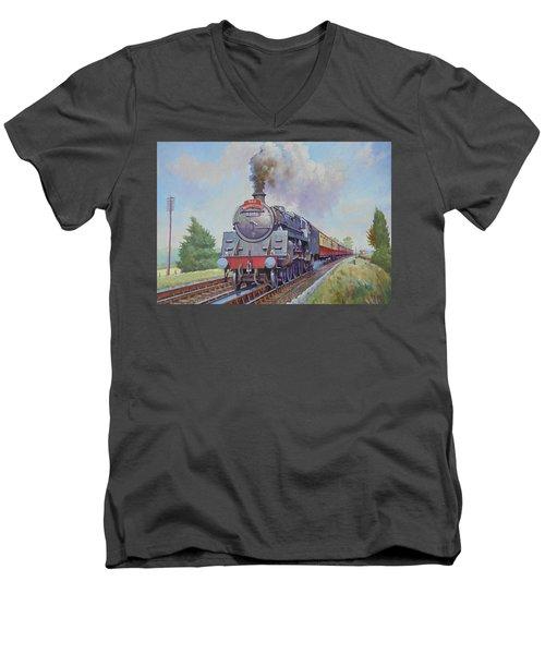 Br Standard Five 4-6-0. Men's V-Neck T-Shirt