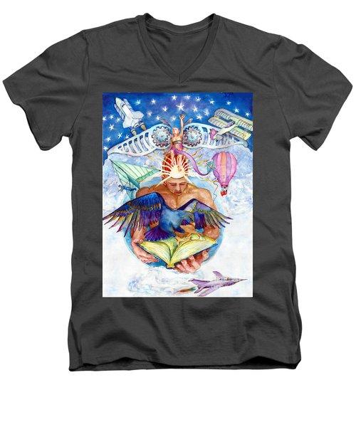 Brain Child Men's V-Neck T-Shirt by Melinda Dare Benfield