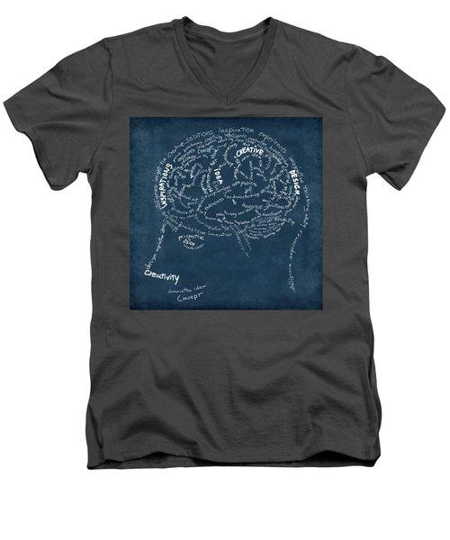 Brain Drawing On Chalkboard Men's V-Neck T-Shirt
