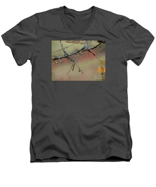 Branch With Water Abstract Men's V-Neck T-Shirt by Craig Walters