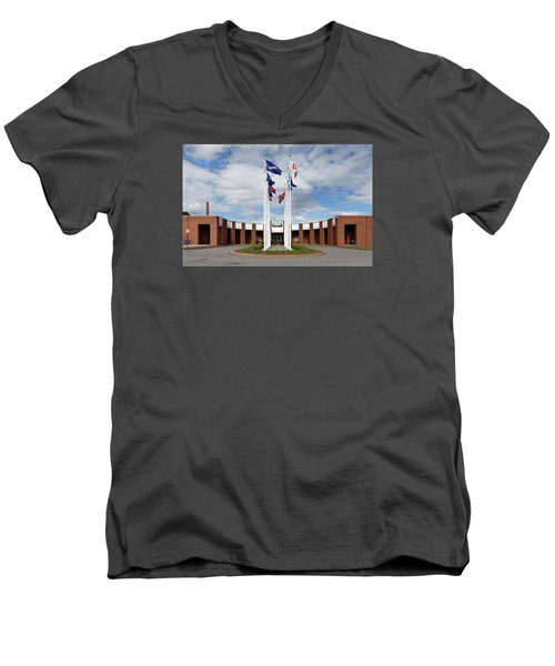 Men's V-Neck T-Shirt featuring the photograph Brandeis University Gosman Sports And Convocaton Center by Betty Denise