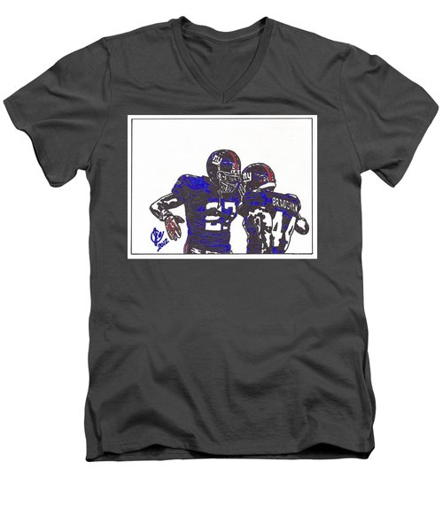Men's V-Neck T-Shirt featuring the drawing Brandon Jacobs And Ahmad Bradshaw by Jeremiah Colley