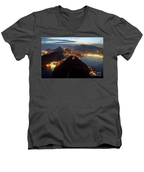 Men's V-Neck T-Shirt featuring the photograph Brasil,rio De Janeiro,pao De Acucar,viewpoint,panoramic View,copacabana At Night by Juergen Held