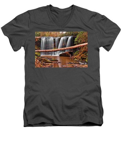 Brasstown Falls 002 Men's V-Neck T-Shirt by George Bostian
