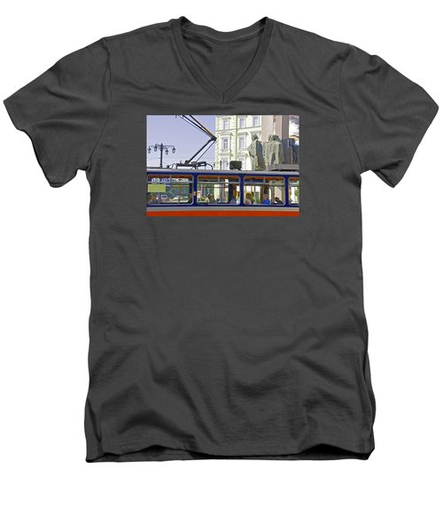 Bratislava Trolley Men's V-Neck T-Shirt by Dennis Cox WorldViews