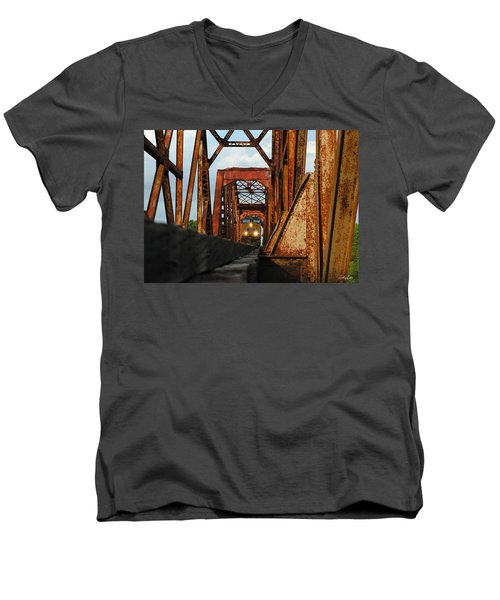 Brazos River Railroad Bridge Men's V-Neck T-Shirt