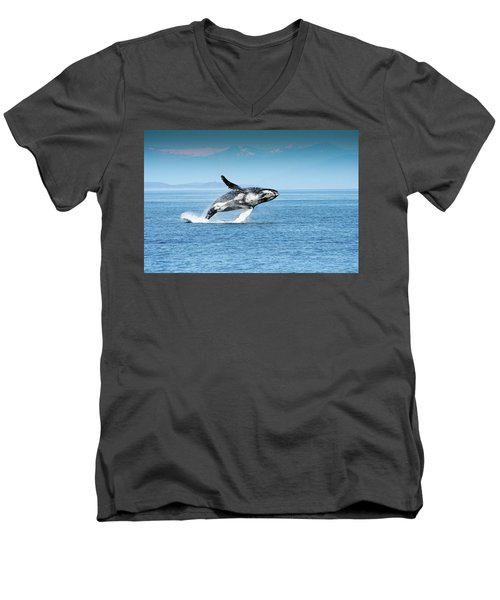 Breaching Humpback Whales Happy-4 Men's V-Neck T-Shirt