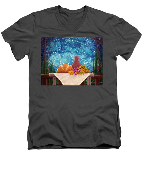 Men's V-Neck T-Shirt featuring the painting Bread And The Fruit Of The Vine by Matt Konar