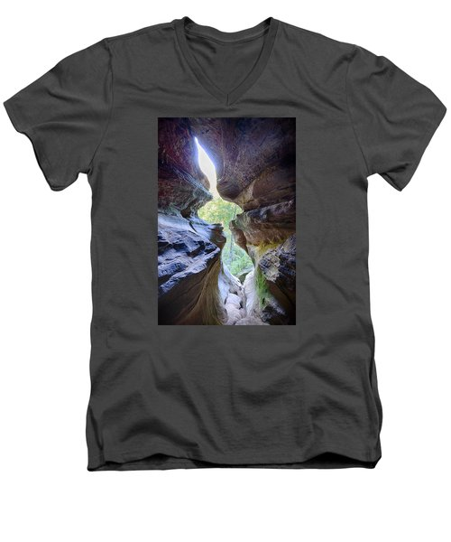 Men's V-Neck T-Shirt featuring the photograph Break Out by Alan Raasch