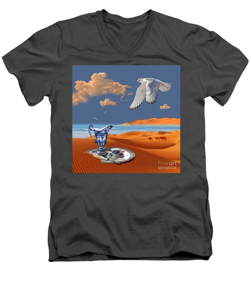 Men's V-Neck T-Shirt featuring the digital art Breakfast With White Falcon by Alexa Szlavics