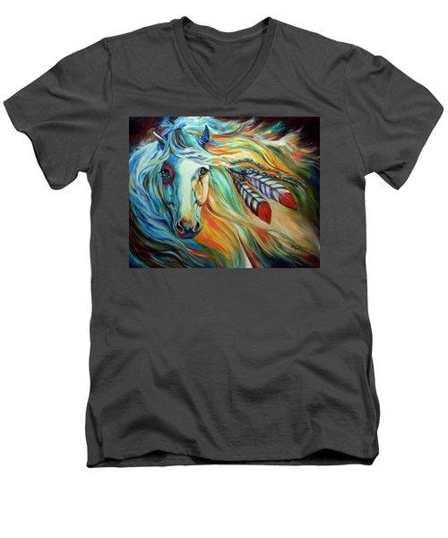 Breaking Dawn Indian War Horse Men's V-Neck T-Shirt