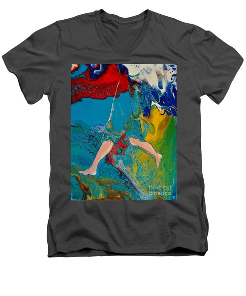 Men's V-Neck T-Shirt featuring the painting Breaking Through by Deborah Nell