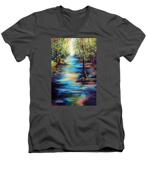 Breaking Through Men's V-Neck T-Shirt by Meaghan Troup