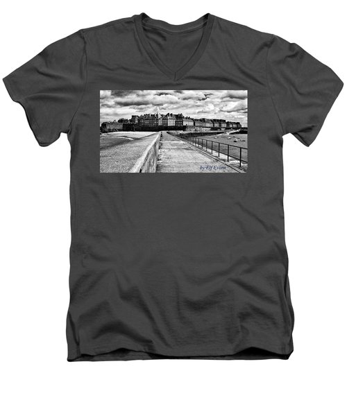 Men's V-Neck T-Shirt featuring the photograph Breakwater Walkway To Intra Muros by Elf Evans