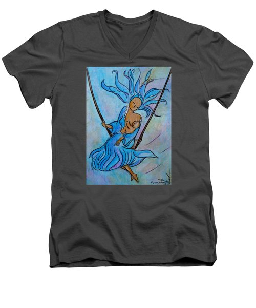 Men's V-Neck T-Shirt featuring the painting Breastfeeding Everywhere Breastfeeding On A Swing by Gioia Albano