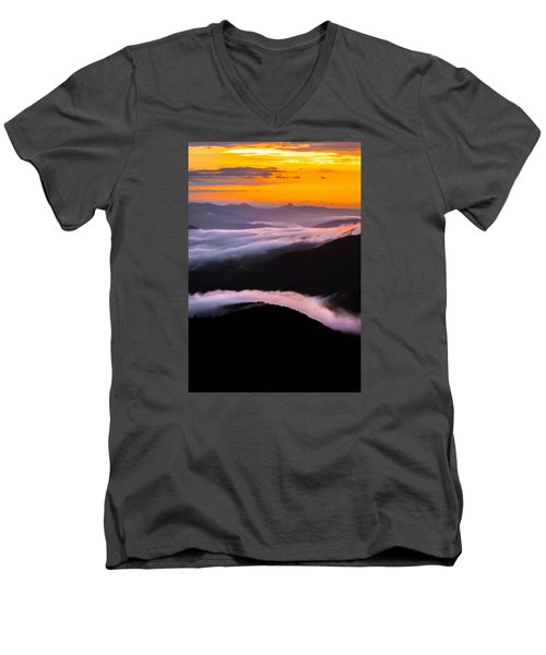 Breatthtaking Blue Ridge Sunrise Men's V-Neck T-Shirt by Serge Skiba