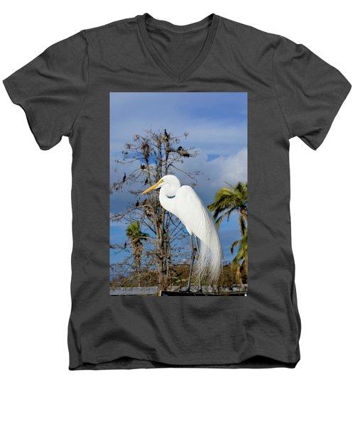 Breezy Egret Men's V-Neck T-Shirt by Josy Cue
