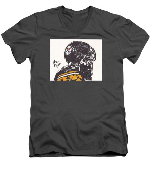 Men's V-Neck T-Shirt featuring the drawing Brett Keisel by Jeremiah Colley