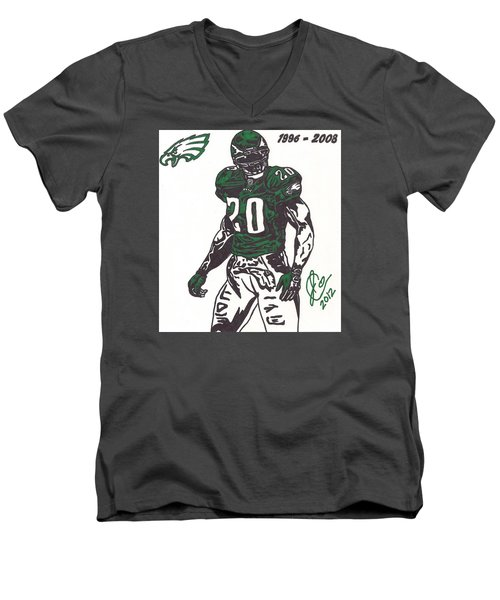 Men's V-Neck T-Shirt featuring the drawing Brian Dawkins 3 by Jeremiah Colley
