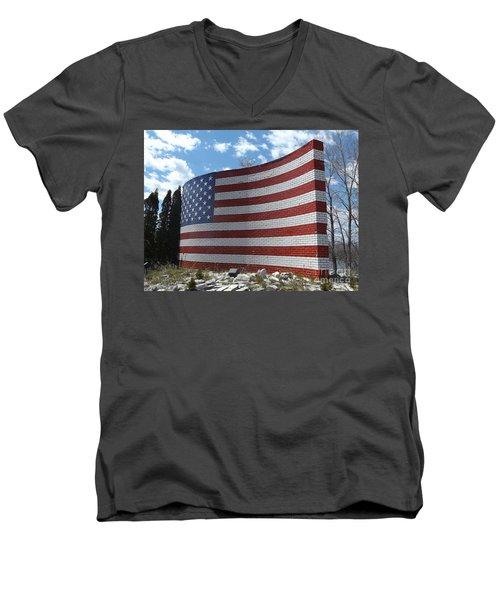 Brick American Flag Men's V-Neck T-Shirt