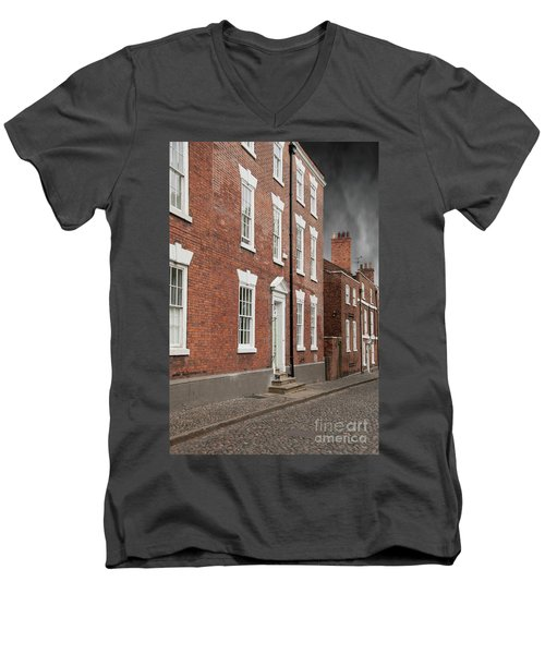 Men's V-Neck T-Shirt featuring the photograph Brick Buildings by Juli Scalzi