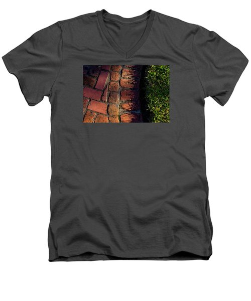 Brick Path In Afternoon Light Men's V-Neck T-Shirt by Derek Dean