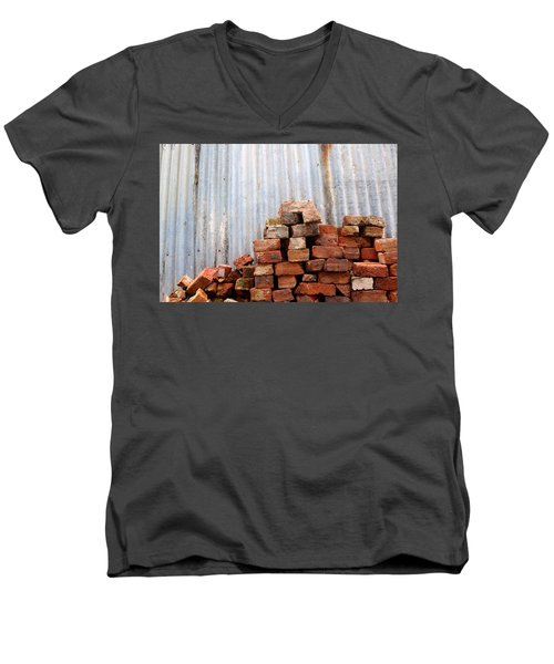 Men's V-Neck T-Shirt featuring the photograph Brick Piled by Stephen Mitchell