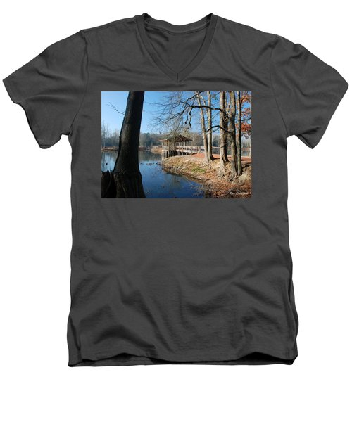 Brick Pond Park Men's V-Neck T-Shirt by Kay Lovingood