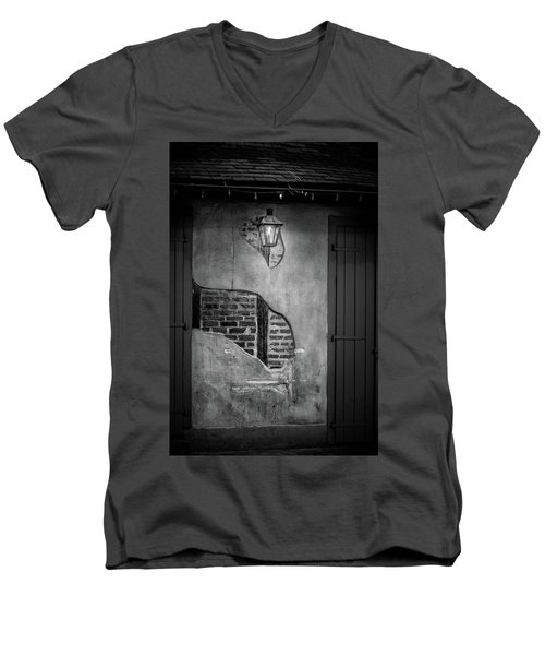 Bricks In The Wall In Black And White Men's V-Neck T-Shirt
