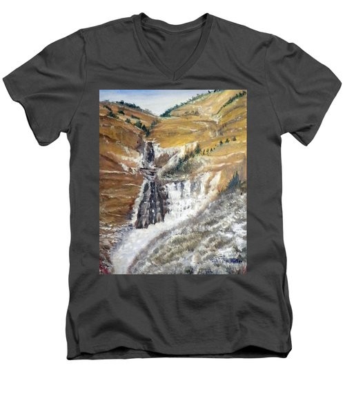 Men's V-Neck T-Shirt featuring the painting Bridal Veil Falls In Winter by Sherril Porter