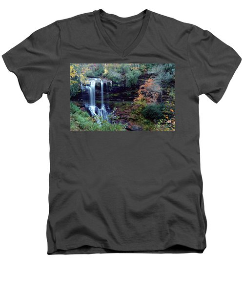 Men's V-Neck T-Shirt featuring the painting Bridal Veil Waterfalls by Debra Crank