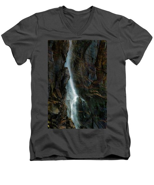 Men's V-Neck T-Shirt featuring the photograph Bridalveil Falls In Autumn by Bill Gallagher