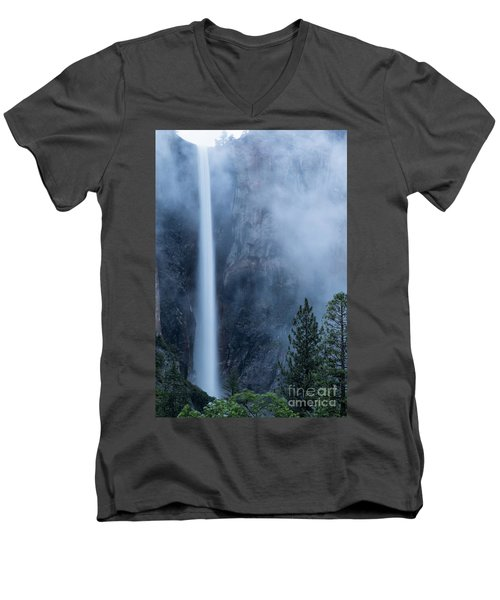 Men's V-Neck T-Shirt featuring the photograph Bridalveil Falls by Vincent Bonafede
