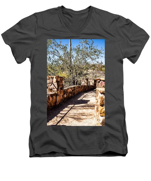 Men's V-Neck T-Shirt featuring the photograph Bridge Over Desert Wash by Lawrence Burry