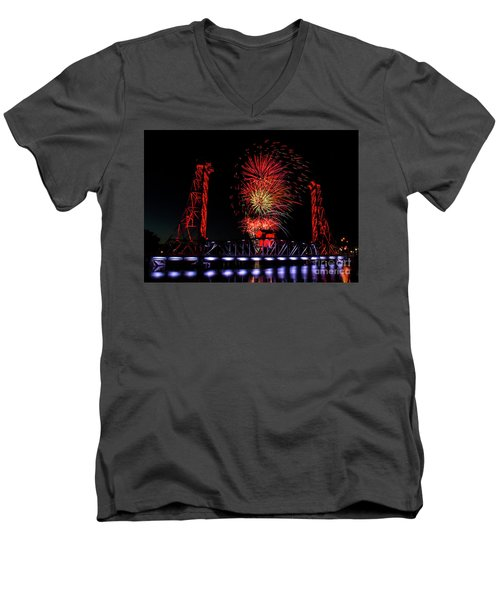 Men's V-Neck T-Shirt featuring the photograph Bridge 13 In Welland by JT Lewis