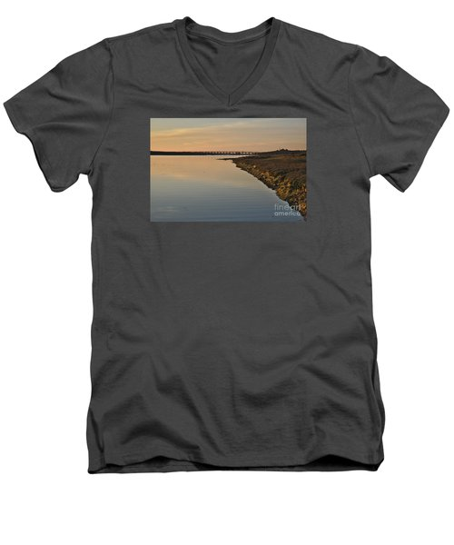 Bridge And Ria At Sunset In Quinta Do Lago Men's V-Neck T-Shirt by Angelo DeVal