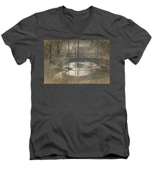Bridge At The Fens Men's V-Neck T-Shirt