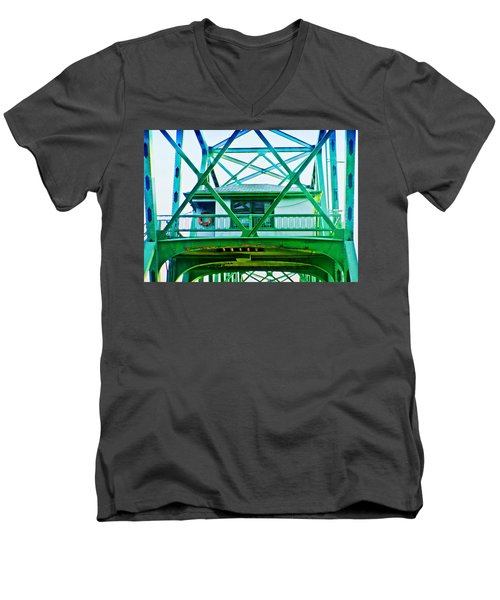 Men's V-Neck T-Shirt featuring the photograph Bridge House by Adria Trail